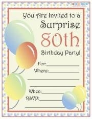 80th Birthday Party Invitation Ordlyd